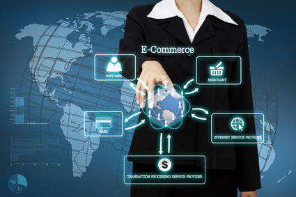 businessman showing circular diagram of structure of e-commerce