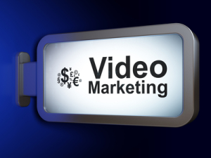 Business concept: Video Marketing and Finance Symbol on billboard background
