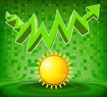 summer sun under green rising zig zag arrow vector