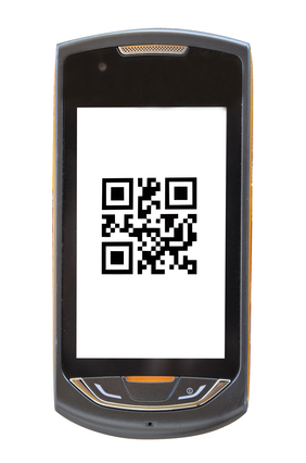 mobile phone with a qr code (barcode old)