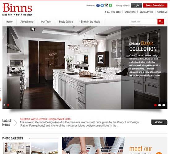 BINNS Kitchen Bath Custom Web Design Graphics Interesting Kitchen Design Websites Collection