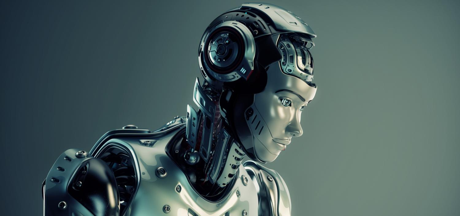 A humanoid robot look downward as if thinking about AI web design.